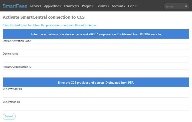 SmartCentral CCS Software Activation