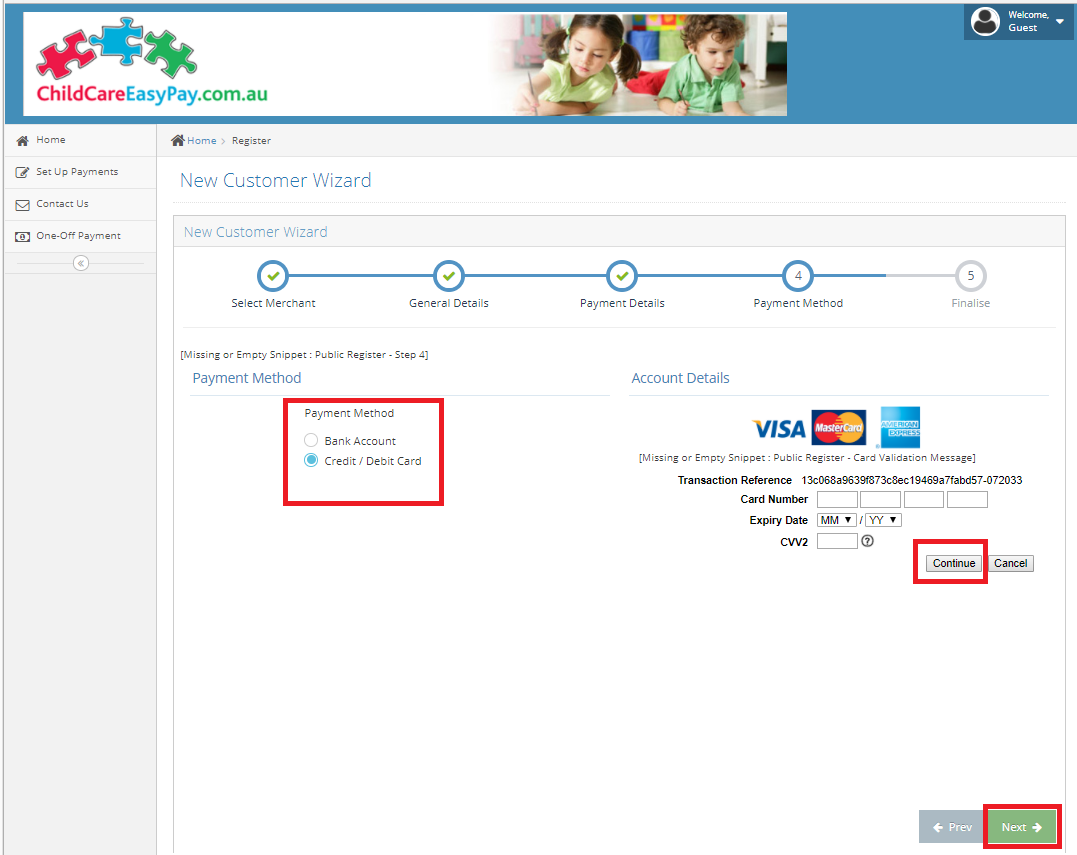 CEP Payment Method - Card