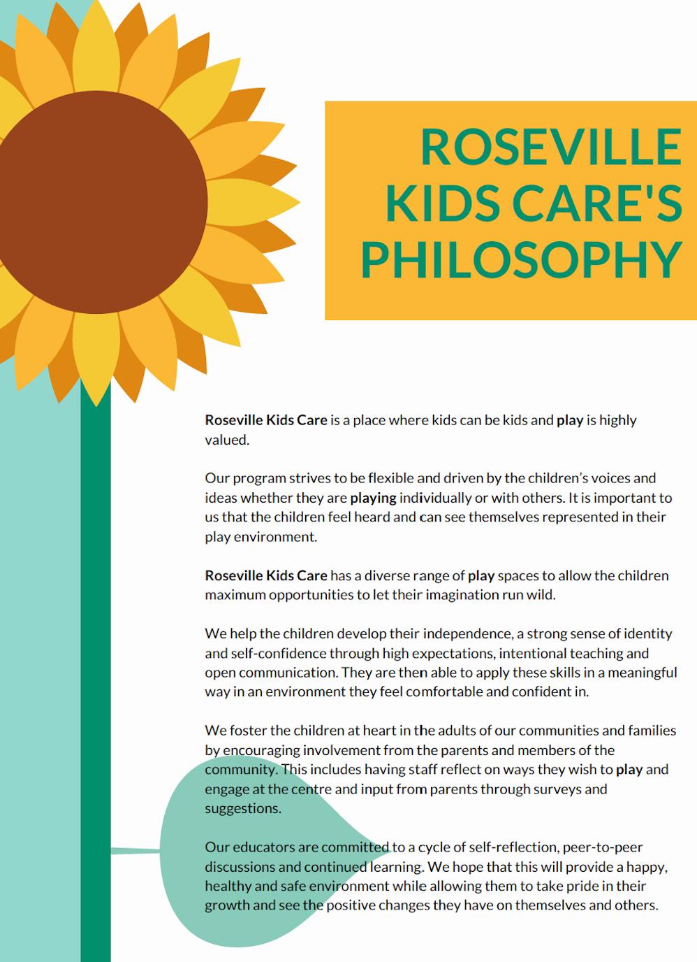 Roseville Kids Care's Philosophy